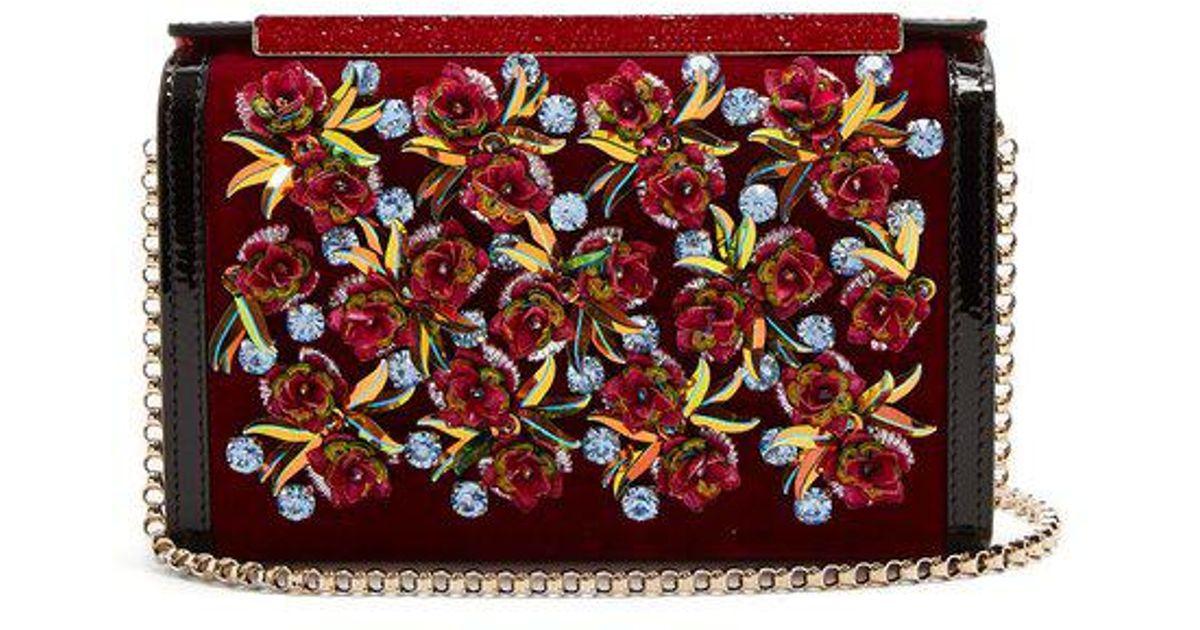 Vanite flower-embroidered velvet clutch Christian Louboutin UkJ7QUO