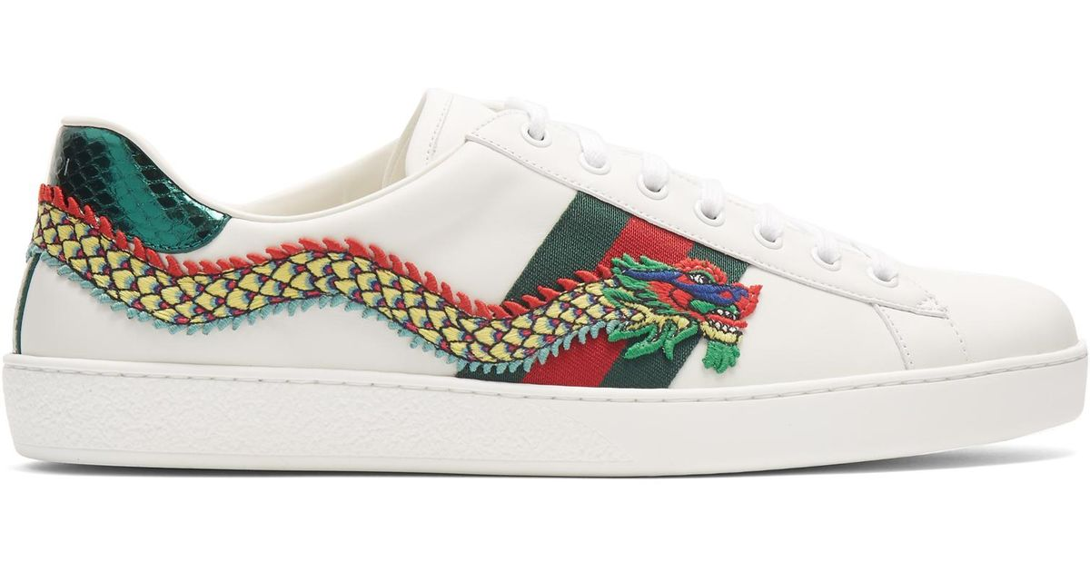 a08a2975537 Gucci New Ace Dragon-appliqué Leather Trainers in White for Men - Lyst