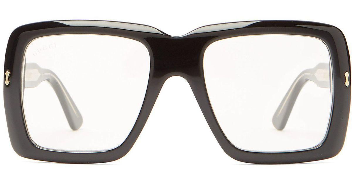 37612f7820b2 Gucci Oversized Square Frame Acetate Glasses in Black for Men - Lyst