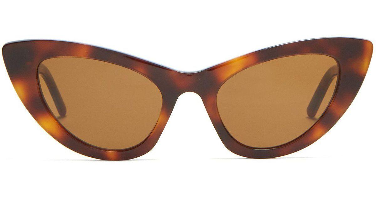 57c9c99583 Lyst - Saint Laurent Lily Cat Eye Sunglasses in Brown