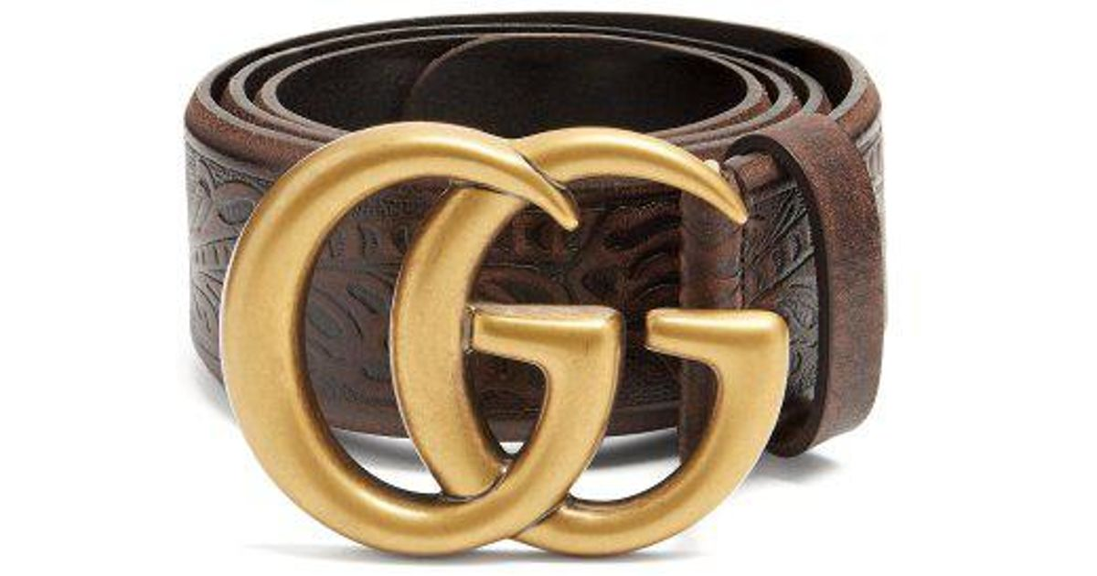 70259a995 Gucci GG Vintage 4cm Leather Belt in Brown - Lyst
