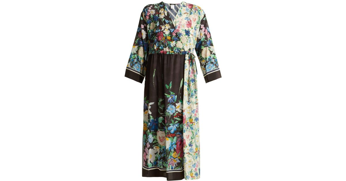 b930a292072 Weekend by Maxmara Smalto Floral Print Silk Dress in Black - Lyst