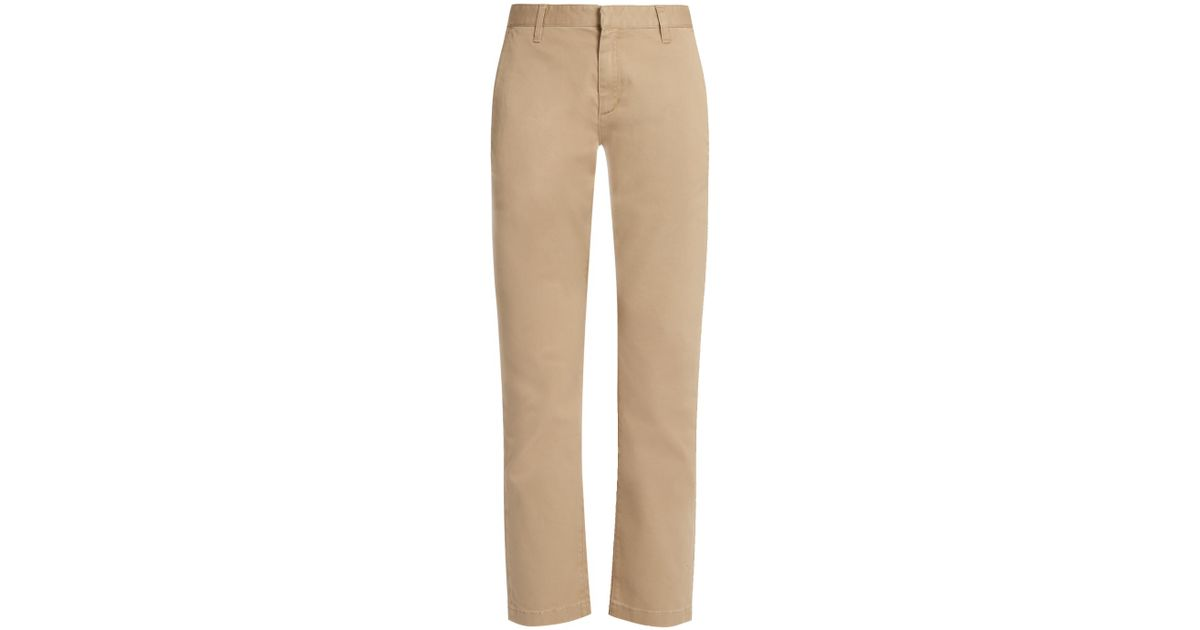 137e17f8455 Lyst - Saint Laurent Stretch-cotton Gabardine Chino Trousers in Natural