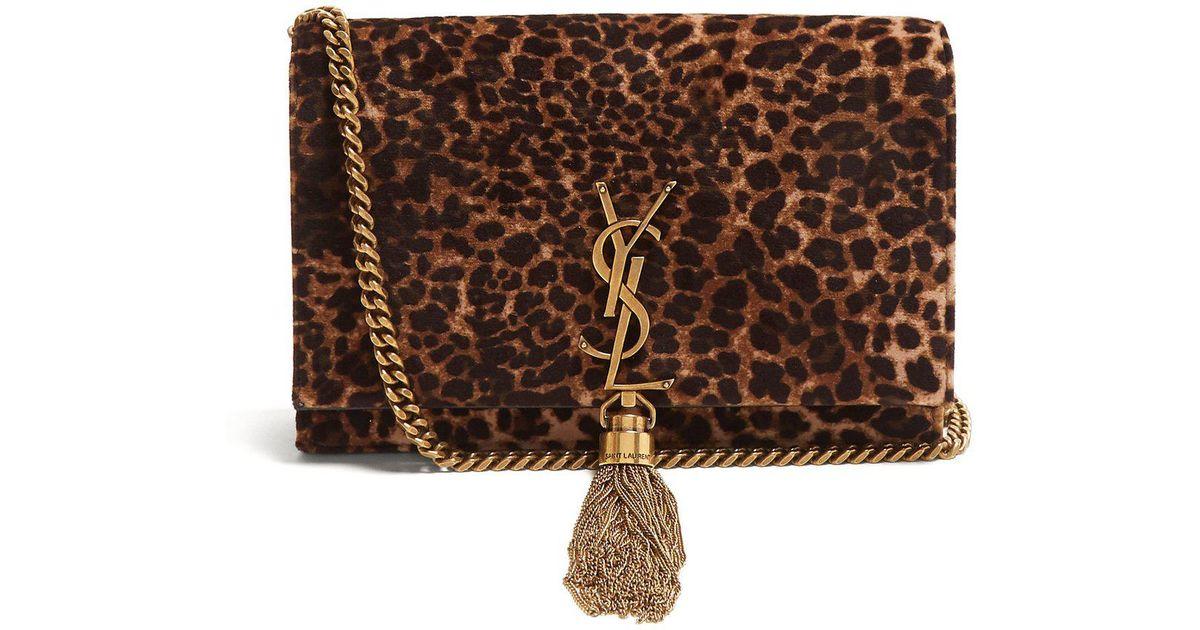 caec1fb3ae39 Lyst - Saint Laurent Kate Small Leopard Print Velvet Cross Body Bag in Brown