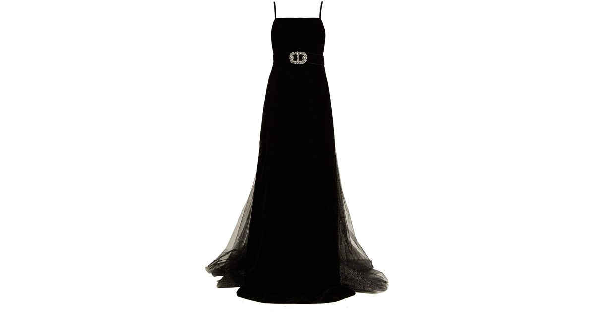 40a46841f Gucci Crystal Embellished Velvet Gown in Black - Lyst