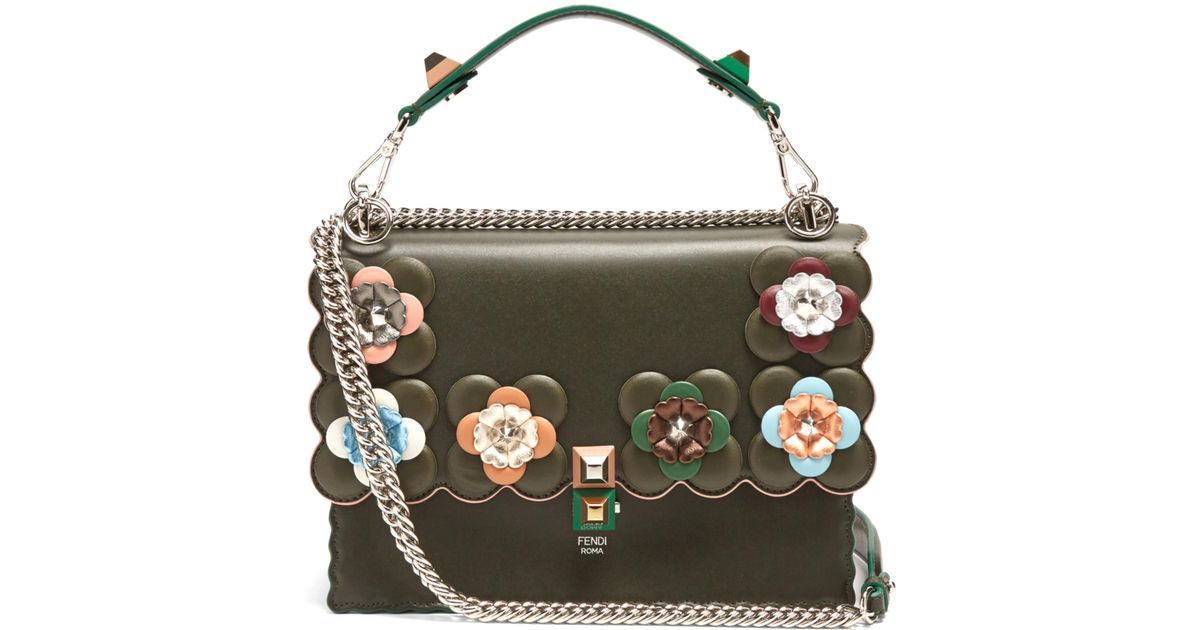 Lyst - Fendi Kan I Flower-embellished Leather Shoulder Bag in Green 0a1ba8d4401f6