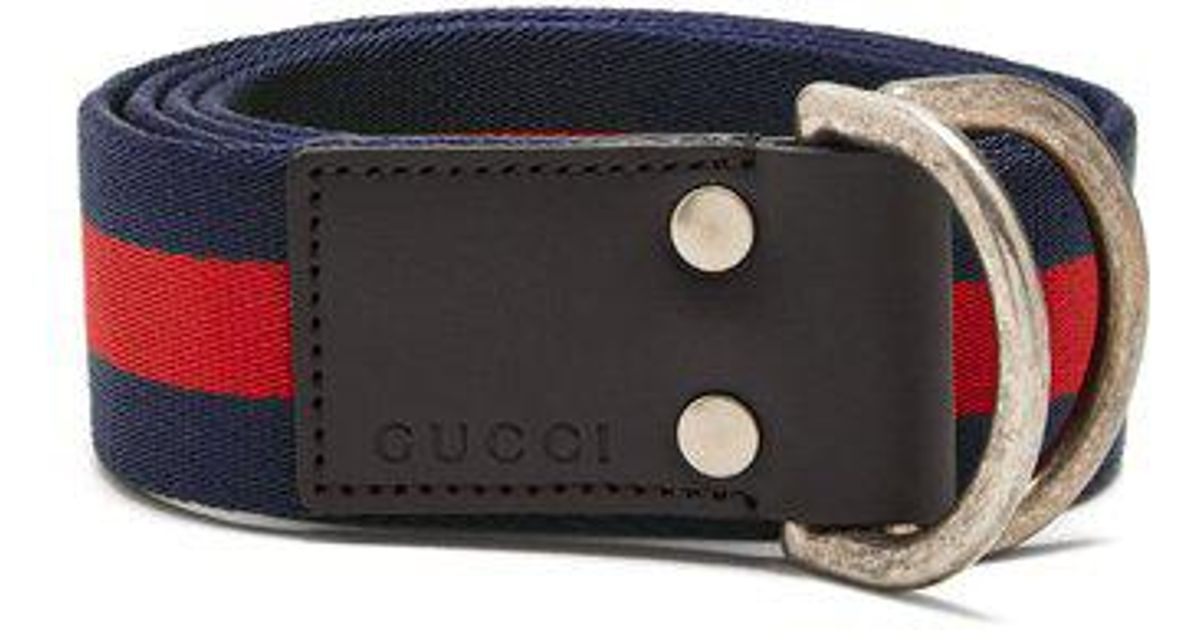 e4c3757924a Lyst - Gucci D-ring Striped Canvas Belt in Blue for Men