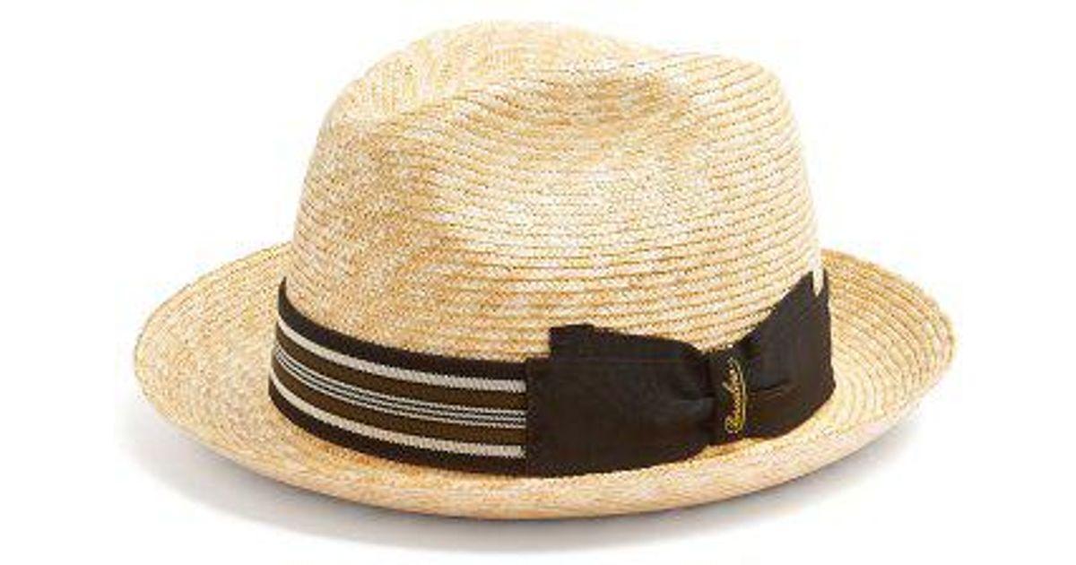 f8720c1c596 Borsalino - Striped Band Panama Hat - Mens - Beige Multi in Natural for Men  - Lyst