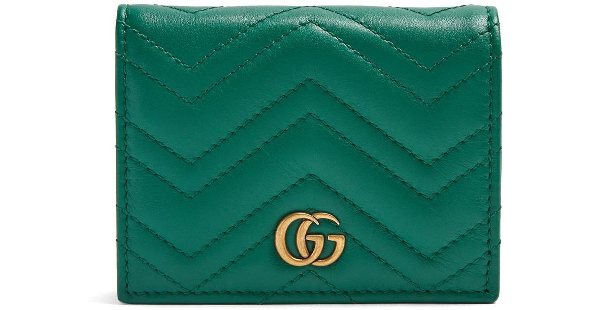 69185f6b396bef Gucci Gg Marmont Quilted-leather Wallet in Green - Lyst