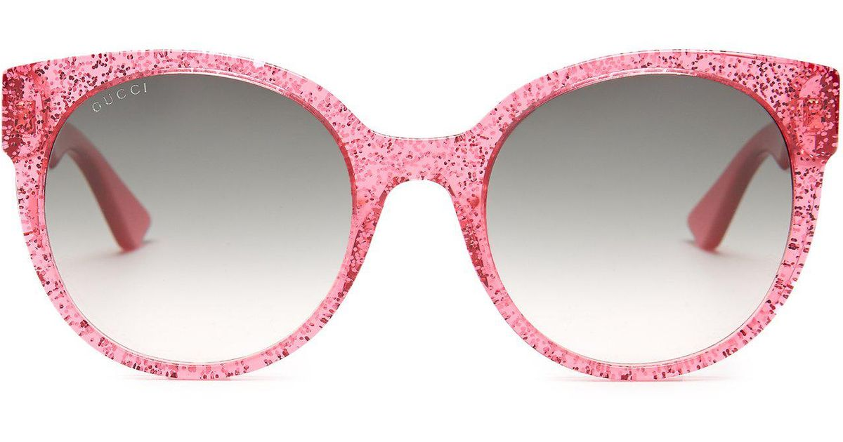 68ed87bf23616 Gucci Round Frame Glitter Acetate Sunglasses in Pink - Lyst