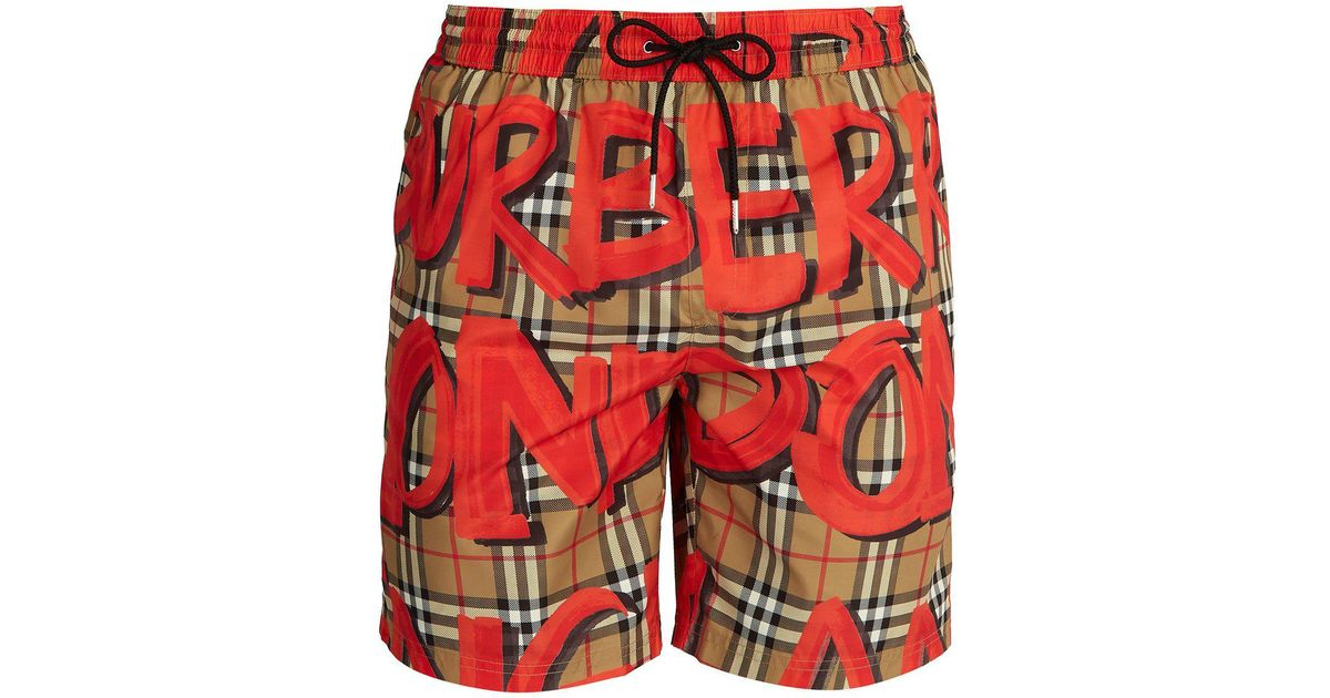 ebcd97300863d Burberry Graffiti And Check-print Swim Shorts in Red for Men - Lyst