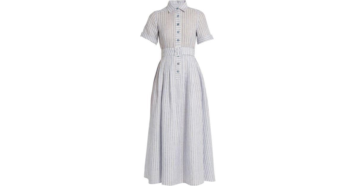2013e60a Gül Hürgel Short-sleeved Striped Cotton And Linen-blend Dress in Blue - Lyst