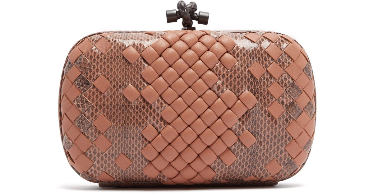 a6263a584f Bottega Veneta Knot Satin And Watersnake Clutch - Lyst
