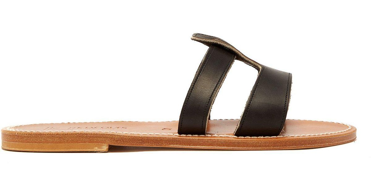 fd35a464f K. Jacques Thanos Leather Slides in Black - Lyst