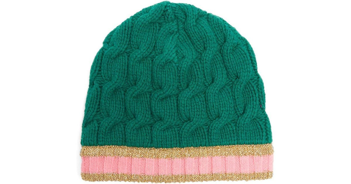 52620aa905d Lyst - Gucci Cable Knit Beanie Hat in Green