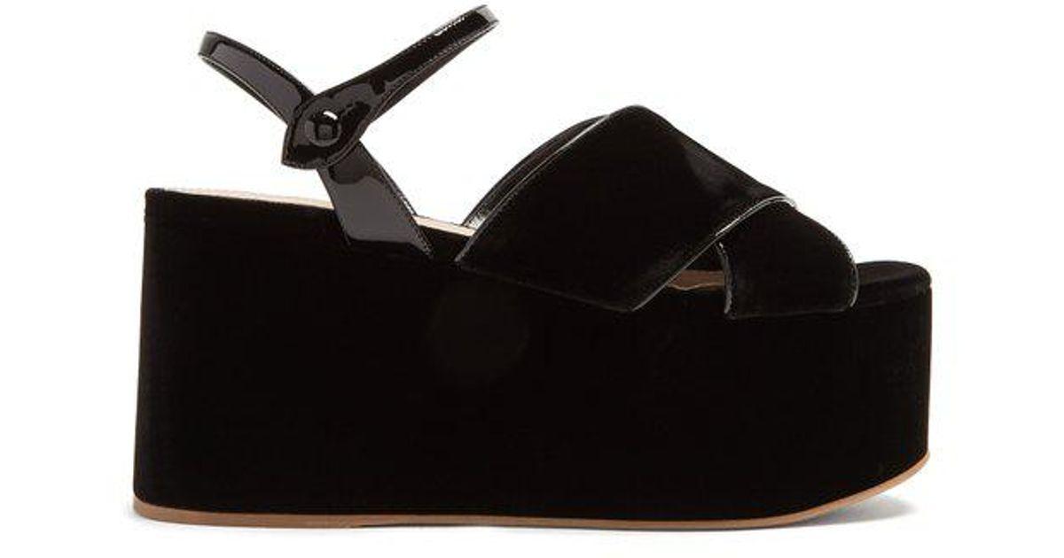 ae3cf1984cda Lyst - Miu Miu Crossover Velvet Flatform Sandals in Black