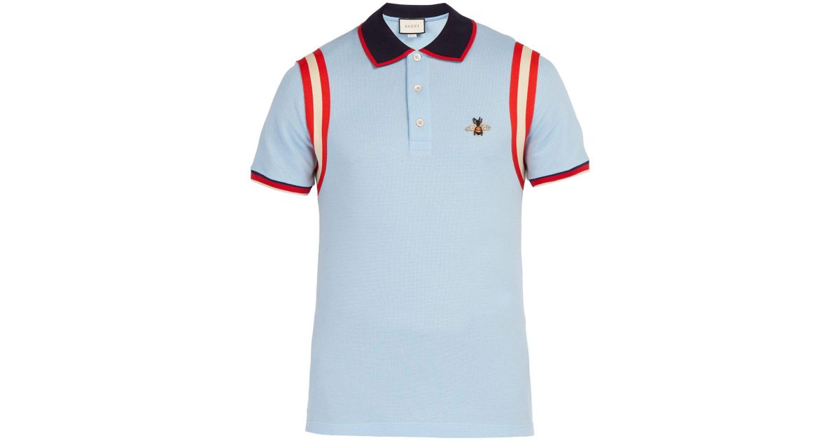 c195b249 Lyst - Gucci Bee Embroidered Cotton Piqué Polo Shirt in Blue for Men