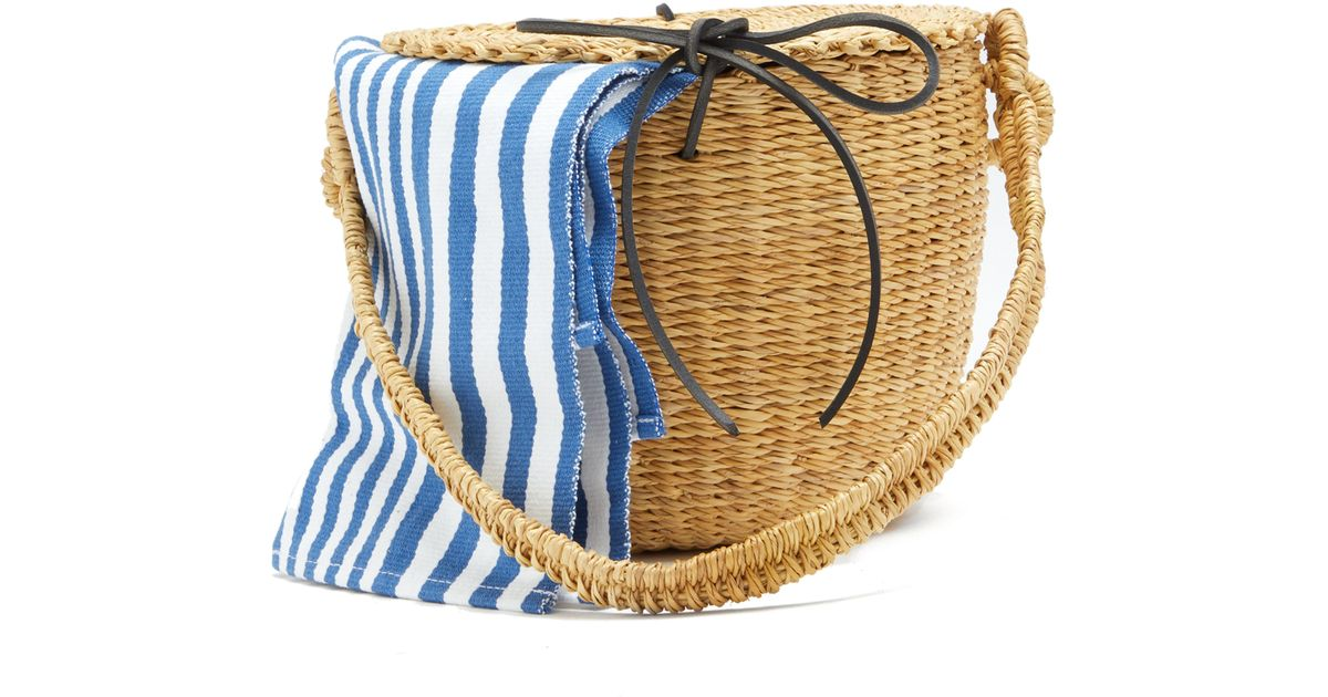 8adc5b649471 Muuñ Lou Striped Canvas And Woven Straw Bucket Bag in Blue - Lyst