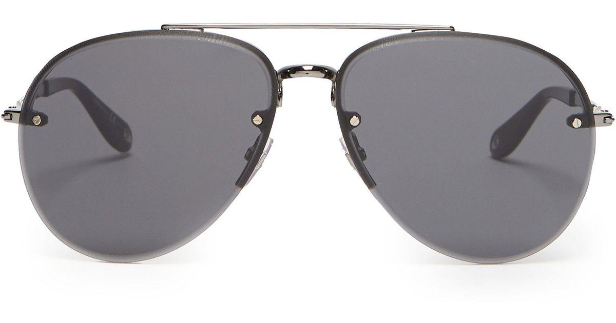 02c3c191137639 Lyst - Lunettes de soleil aviateur sans monture Givenchy pour homme en  coloris Gris