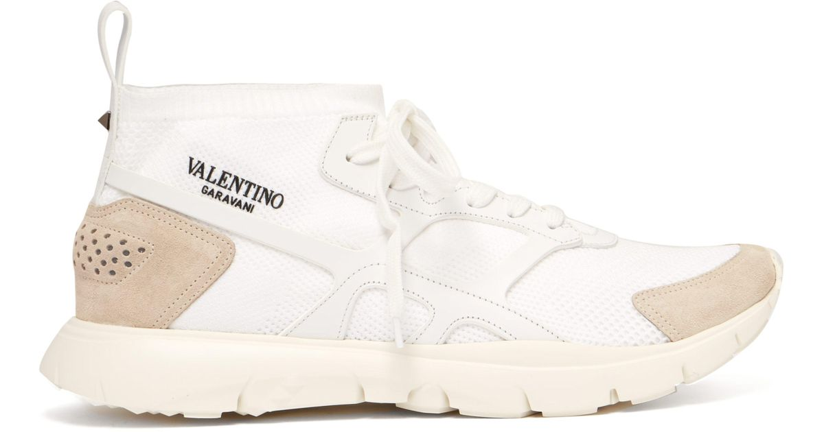 1911810262d32 Valentino Sound High Knitted Trainers in White for Men - Lyst