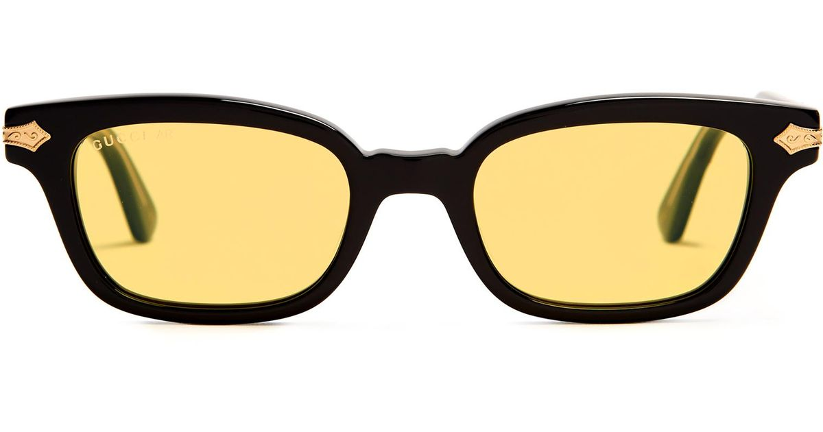 f508a05284 Gucci Rectangle-frame Acetate Sunglasses in Black for Men - Lyst