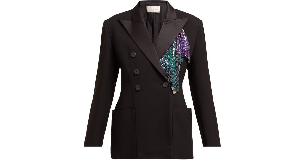 e6d3a074bbe Christopher Kane Chainmail Trim Double Breasted Tuxedo Jacket in Black -  Lyst
