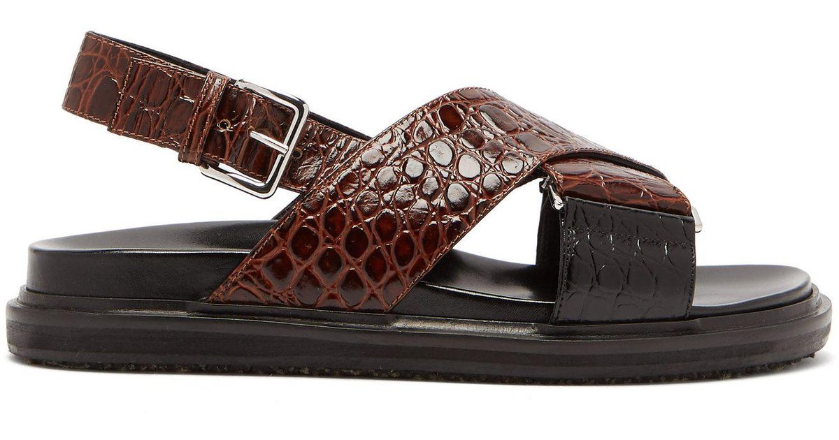 5431f6dad09 Lyst - Marni Fussbett Crocodile-effect Leather Sandals in Brown