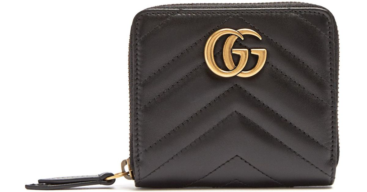 c777a3760 Gucci Gg Marmont Quilted-leather Wallet in Black - Lyst