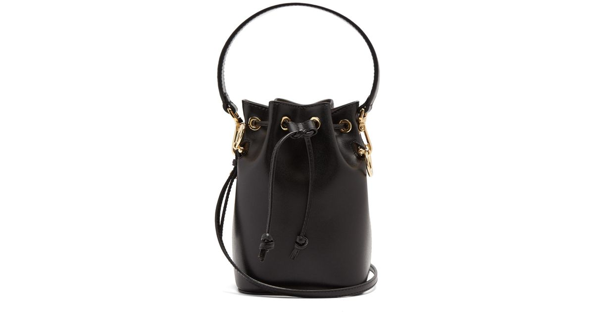 cd05c3759967 Lyst - Fendi My Treasure Leather Bucket Bag in Black