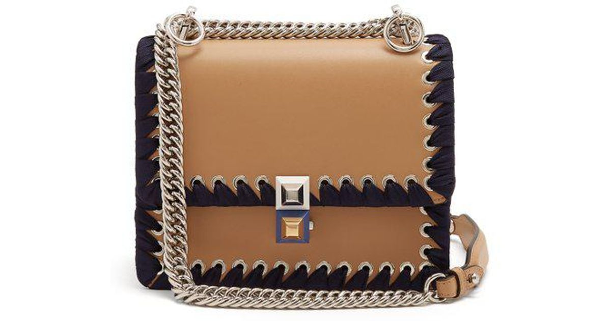 8a3a943ac53d Fendi Kan I Small Whipstitched Leather Cross-body Bag - Lyst