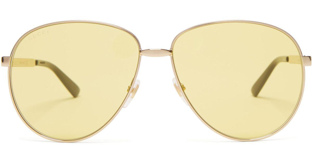 f64b3f32f Gucci Aviator Metal Sunglasses in Yellow - Lyst