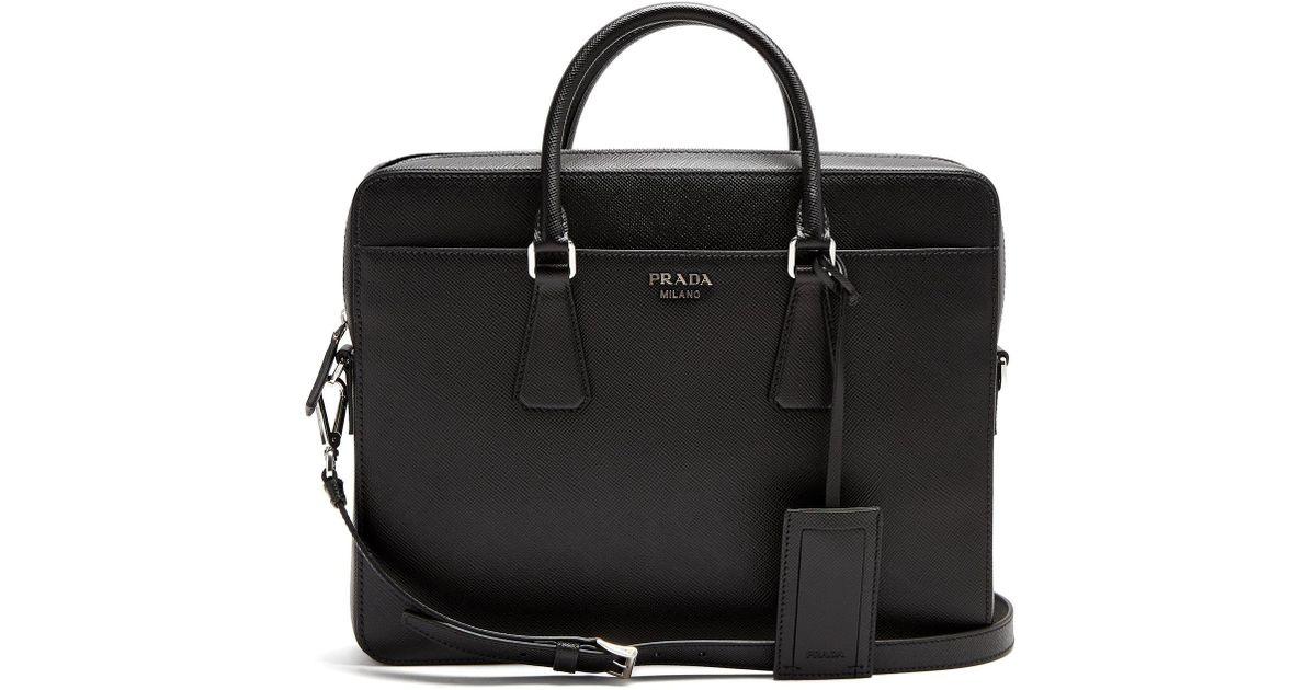 4bfafea7857a Lyst - Prada Zip-around Saffiano-leather Briefcase in Black for Men