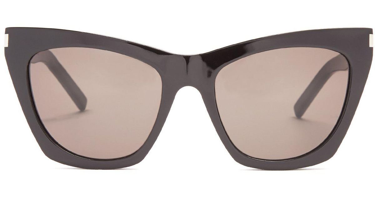 95f5216b28 Lyst - Saint Laurent Kate Square Cat-eye Frame Acetate Sunglasses in Black