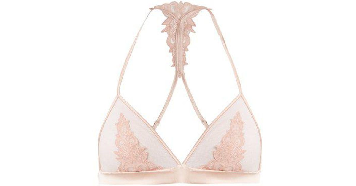 Sheer and lace satin soft-cup triangle bra Fleur Of England Outlet Classic Outlet From China Brand New Unisex Online 72eLF