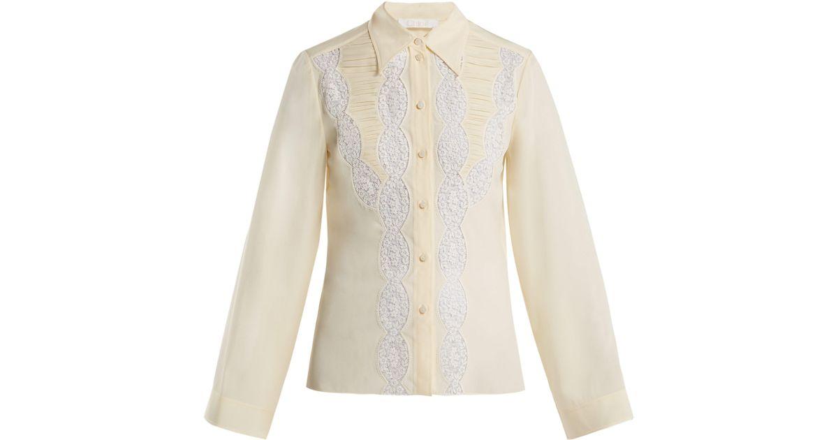 1cebb8d107fa8e Chloé Lace Silk Blouse in White - Lyst