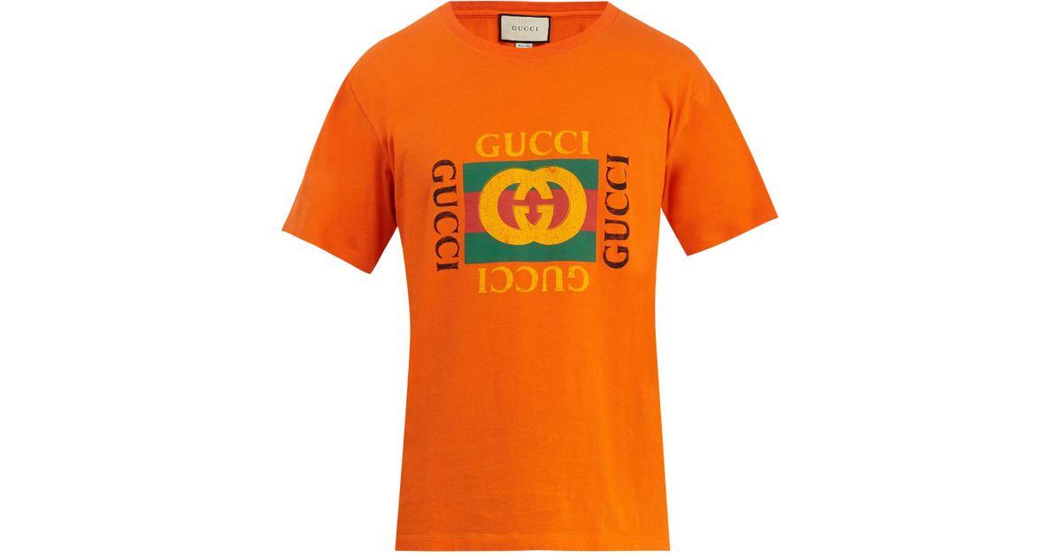 f7ef5b50e Gucci Logo Cotton T-shirt in Orange for Men - Lyst