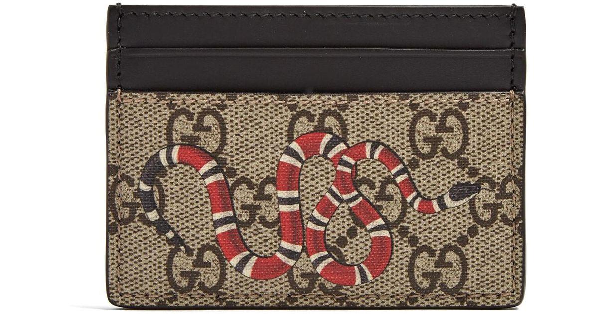 c1d4118974d8 Gucci Kingsnake-print Cardholder in Brown for Men - Lyst