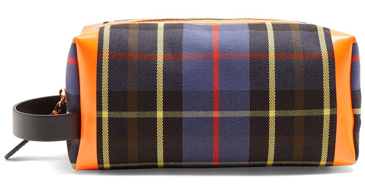 f318a6638565 Burberry Tartan Zip-around Canvas Washbag in Blue - Lyst