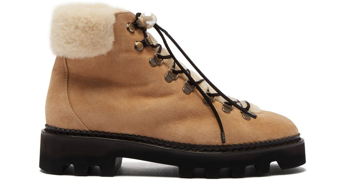 86ae1067590 Nicholas Kirkwood - Natural Delfi Shearling And Suede Hiking Boots - Lyst