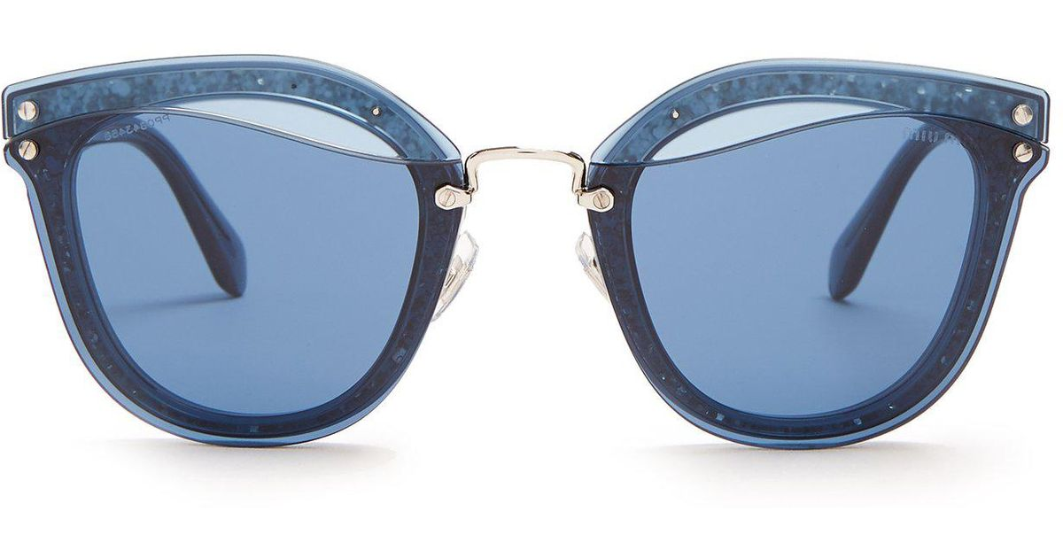52dcfd6fc5 Lyst - Miu Miu - Glitter Embellished Cat Eye Sunglasses - Womens - Blue  Multi in Blue