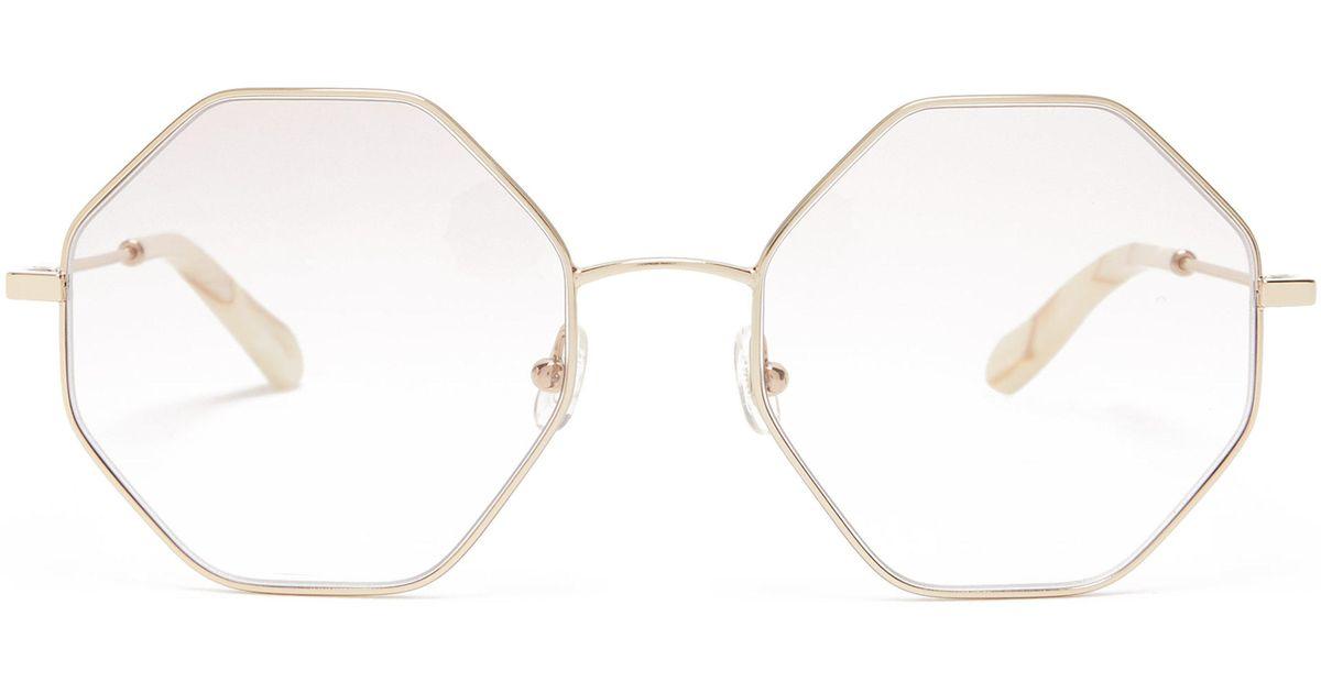 24d605d237e Chloé Poppy Hexagon Frame Glasses in Metallic - Lyst
