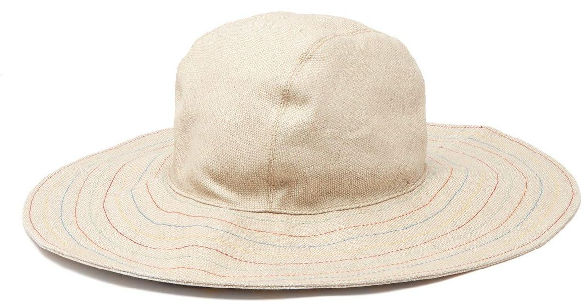 67ab0a3f4a927b Lyst - House of Lafayette Malini Contrast Stitching Linen Bucket Hat in  Natural