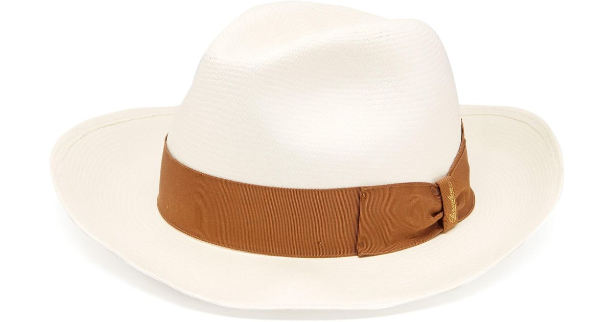 Borsalino Panama Wide Brim Straw Hat in White for Men - Lyst 1d5618b853f3