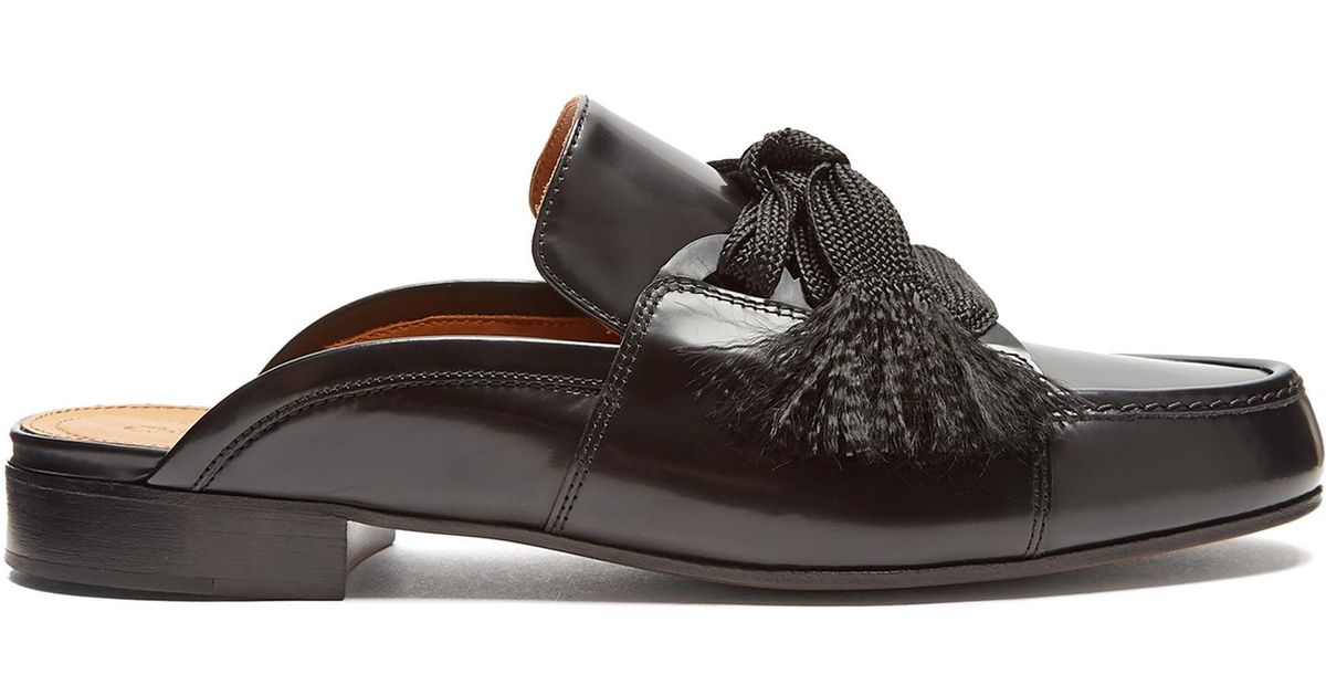06507628ca1 Chloé Harper Lace-up Leather Backless Loafers in Black - Lyst