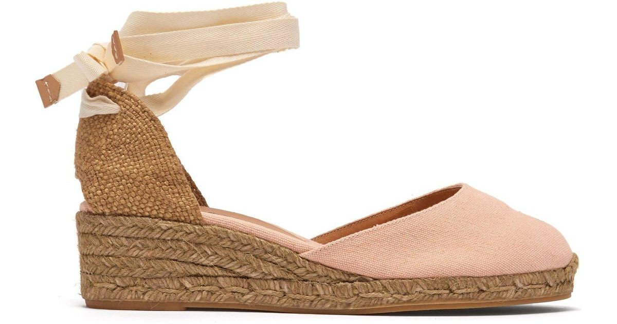 cc6f95e3ba6 Lyst - Castaner Carina 30 Canvas   Jute Espadrille Wedges in Pink - Save 8%