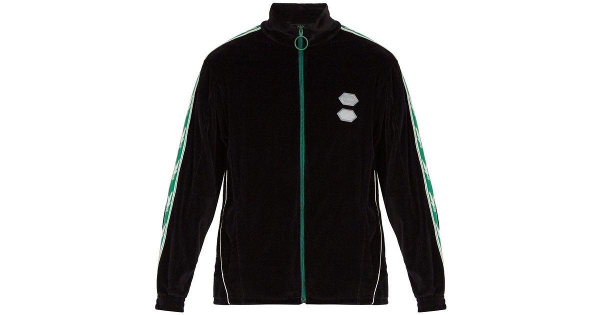 690dd6775df Off-White c/o Virgil Abloh Black Logo Sleeve Zip Through Velour Track Top  for men