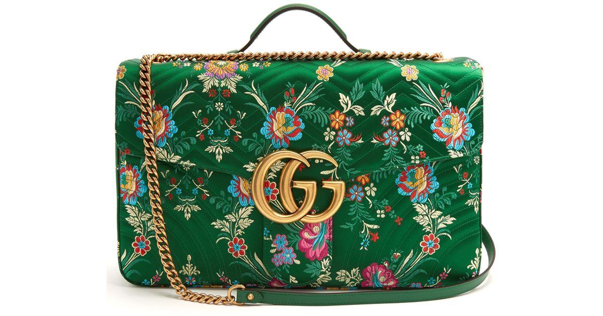 bb9ecc25ab84 Lyst - Gucci Gg Marmont Maxi Floral-jacquard Shoulder Bag in Green