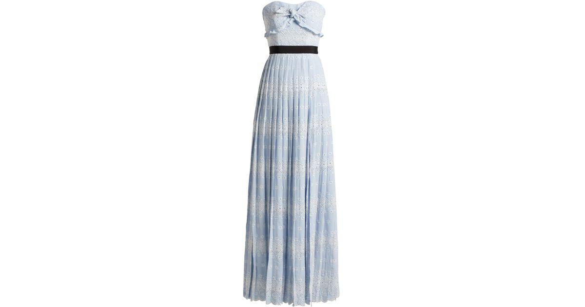48673679efe8 Self-Portrait Floral Broderie Crepe Maxi Dress in Blue - Lyst