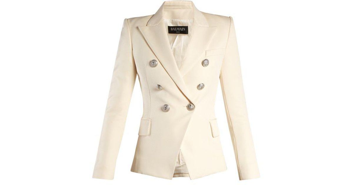 0de29957 Balmain Double-breasted Peak-lapel Twill Blazer in White - Lyst