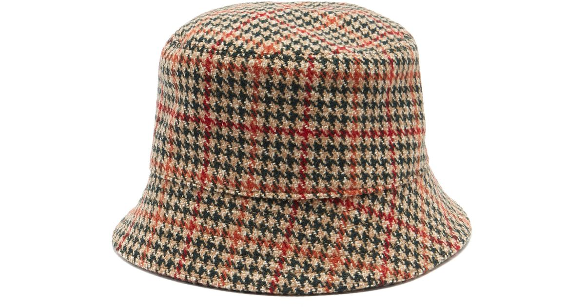 07618ede9ae Prada Houndstooth Wool-tweed Bucket Hat in Green - Lyst